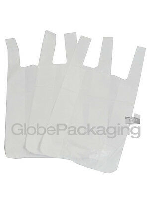 "100 x WHITE PLASTIC VEST CARRIER BAGS 10x15x18"" *OFFER*"