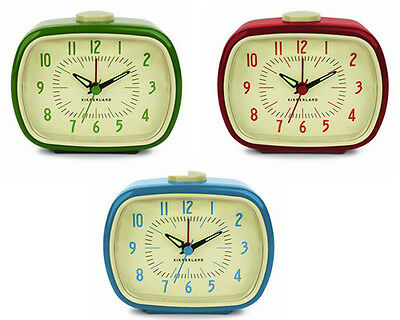 Kikkerland RETRO ALARM CLOCK your choice of blue,green or red AC08 battery oper.