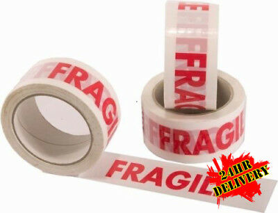 36 Rolls Of Strong FRAGILE Printed Packing Parcel Tape
