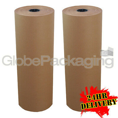 500mm x 225M x 2 BROWN KRAFT WRAPPING PAPER ROLLS 88gsm