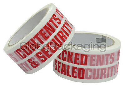 12 Rolls of CONTENTS CHECKED Printed Packing Tape 66m