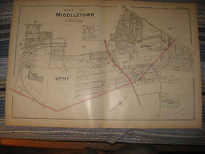 Huge Gorgeous Antique 1903 Middletown Orange County New York Handcolor Map Rare