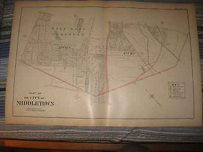 Huge Antique 1903 Middletown Orange County New York Handcolored Map Land Owners