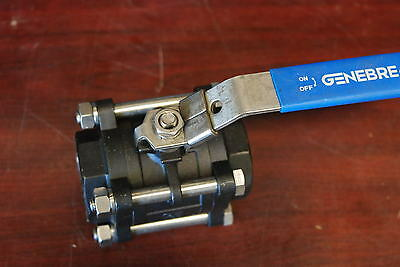 "Genebre 1"" Ball Valve, Steel, WCB, WOG,1000, Full Port, Threaded lockable New"
