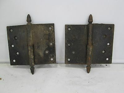 "2 Vintage Heavy Duty Door Hinges #2   6"" wide x 5"" high"
