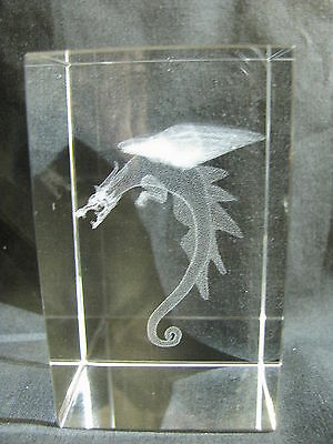 Dragon Laser Picture in Rectangle Crystal Prism 80mm (CY011)