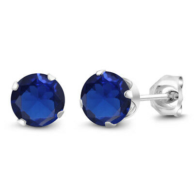 2.00 Ct Round 6mm Blue Simulated Sapphire 925 Sterling Silver Stud Earrings