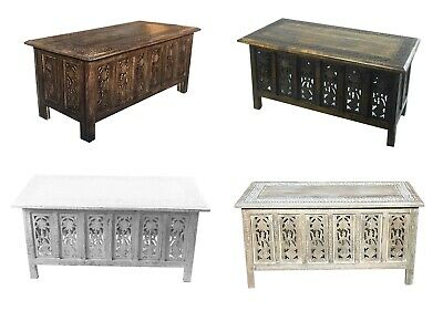 Beautiful Brown White Hand Carved Indian Wooden Coffee Table Side Tables 91x46cm