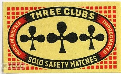 Vintage Matchbox Label - Three Clubs - Solo Safety Matches - Austria