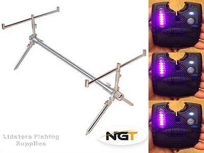 Classic Fishing Rod Pod Short - Fully Adjustable + 3 PUPLE PINK FISHING ALARMS
