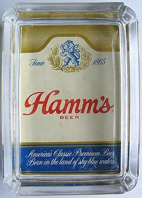 Hamm's Vintage Beer Card & Glass Ashtray Key Ring Coin Candle Tray , Paperweight