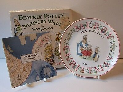Wedgwood Beatrix Potter Nursery Ware Peter Rabbit Christmas Plate 1991 England