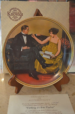 EDWIN M KNOWLES CHINA COLLECTOR PLATE IN BOX & C.O.A.( Flirting in the parlor )