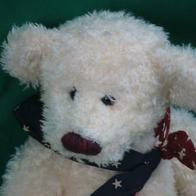 RED WHITE AND BLUE CELEBRATE AMERICA RUSS SAM FUZZY TEDDY BEAR PLUSH STUFFED TOY