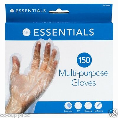 150 X Disposable Plastic Polythene Clear Gloves Food Cleaning Decorating Car