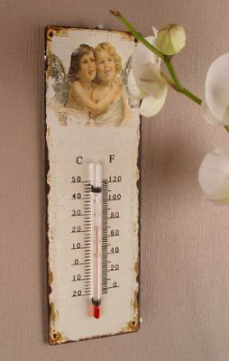 Nostalgisches Thermometer Antik Stil Shabby Chic Engel Retro Design