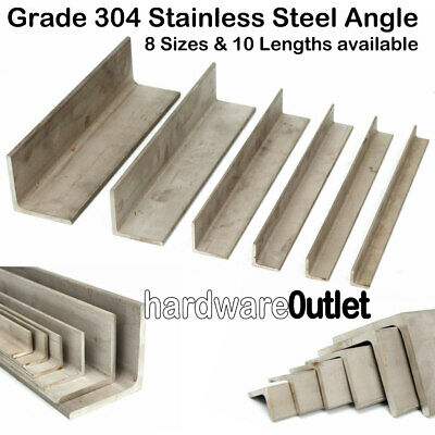 Stainless Steel ANGLE Iron 304 Grade- All Sizes Available See Variation Listing