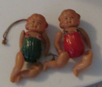 2 VINTAGE CELLULOID DOLL CHRISTMAS ORNAMENTS