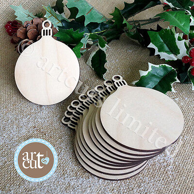 Wooden ROUND CHRISTMAS BAUBLE  Birch Blank Decorations Gift Tag Craft Shapes x10