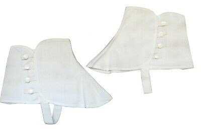 Roaring 20's White Canvas Costume Spats Gangster W/ Snap Victorian Old West