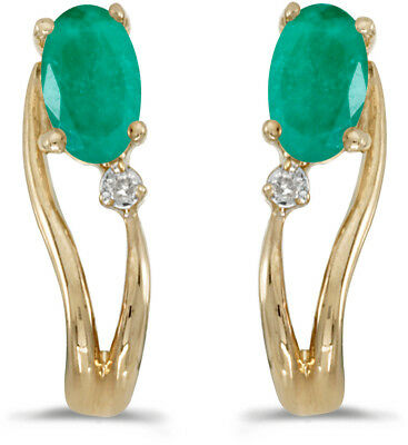 14k Yellow Gold Oval Emerald And Diamond Wave Earrings