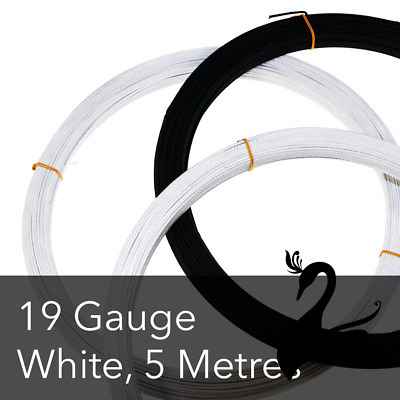 Cotton Covered Wire for Millinery Craft - 19 Gauge (Standard) - White (Price for