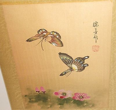 Japanese Two Butterflies Original Watercolor On Silk Painting Signed