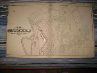 Huge Antique 1876 Meadville Crawford County Pennsylvania Handcolored Map Rare Nr