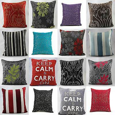 """Luxury Chenille Cushion Covers 18""""x18"""" & 22""""x22"""" ALL COLOURS"""