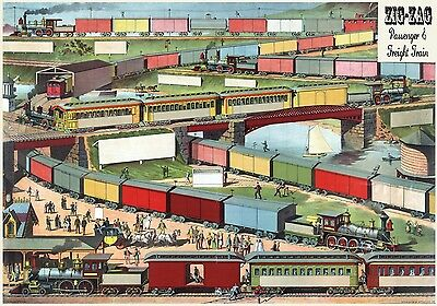 3463.Zig Zag Train.Toy Railroad POSTER.Home Room Office Wall art decoration