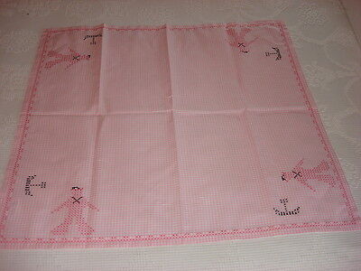 """Vintage PINK GINGHAM CHECK CROSS-STITCH EMBROIDERED TABLECLOTH 32""""x35"""" Sailors"""