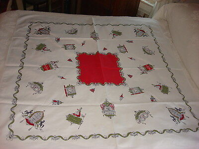 "Vintage Cotton Tablecloth ANTIQUE SIGNS, RED CENTER Green,Gray,Black 48""X48"""