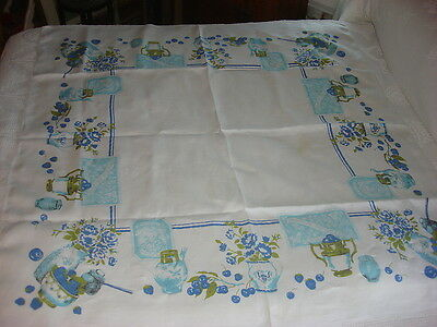 """Vintage Linen Tablecloth SHADES OF BLUE PRIDE OF THE FARM, FLORAL 48""""x52"""""""