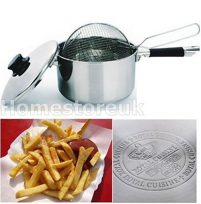 High Quality Stainless Steel Induction Deep Chip Pan Fryer Pot With Lid & Basket