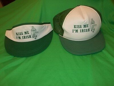 Vintage St Patricks Day 2 Visors + 1 Snap Back Cap Hat Kiss Me God Made Irish #1