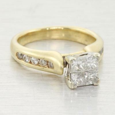 Stunning Edwardian Vintage Estate 0.75ct Princess Diamond 14k Yellow Gold Ring