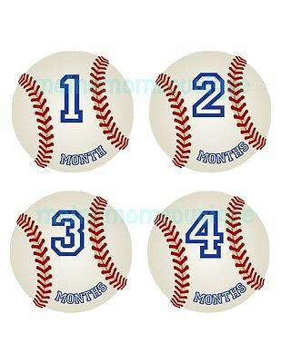 Monthly Baby  Boy Stickers Baseball  Bodysuit Baby Month Photo Shower GIFT