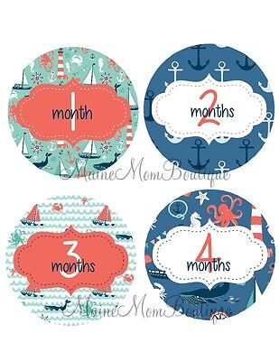 Monthly Baby Stickers Nautical  Bodysuit Baby Month Photo Shower Nursery GIFT