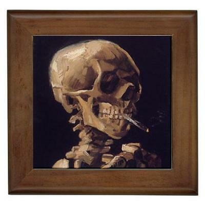 Van Gogh Skull With a Burning Cigarette Framed Tile Wall Picture