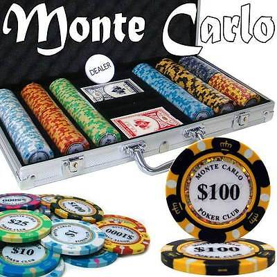 Monte Carlo 300pc 14G Clay Poker Chip Set w/Aluminum Case