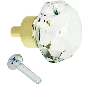 Fine Old Town Diamond Cut CRYSTAL/Brass Knob Pulls $4.99 S/H Flat Rate Anywhere