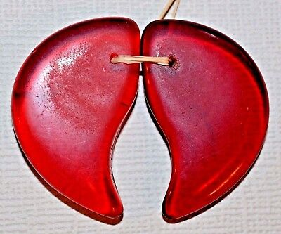 Antique Vintage Molded Red Glass Czech Lion Claw Wedding Beads, African Trade
