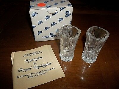 "Princess House: Pair Crystal 3"" x 1.5"" MINIATURE VASES WITH BOX  130902010"