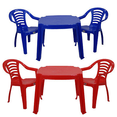 Childrens Kids Plastic Table and Chairs Red or Blue Nursery Sets Outdoor Tea Set