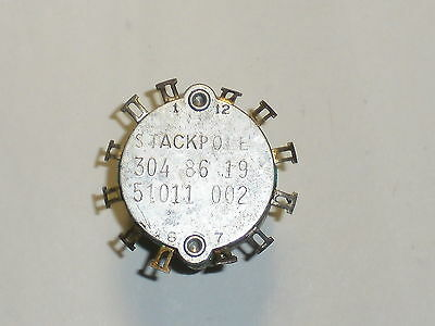 Stackpole 304-86-19 Rotary Switch 6 Position 2 Circuit 51011-002