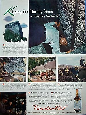 1947 Canadian Club Gene Patterson Kissing The Blarney Stone Ireland ad