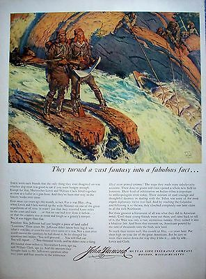 1954 John Hancock Lewis & Clark Explorers Standing Rocks Rushing Water Rifle ad