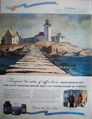 1947 Maxwell House Coffee The Lighthouse Rock Island House Dock Andrew Winter ad