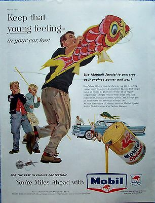 1952 Mobil Oil Father Kids Flying Giant Fish Kites Young Feeling Laughing ad