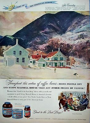 1948 Maxwell House Coffee Snow Skiers Mountains House Ski Country C Ivar Gilbert